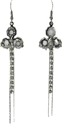 Bandish Silver toned Stone-Studded Floral Multistranded Metal Dangle Earring