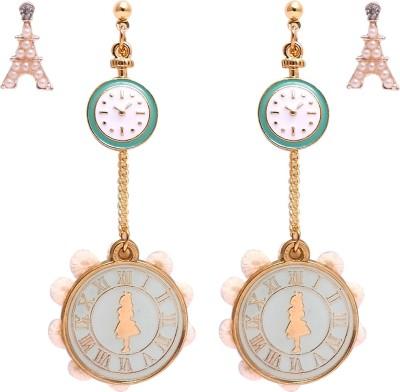 Super Drool Eiffel and Clock Alloy Earring Set