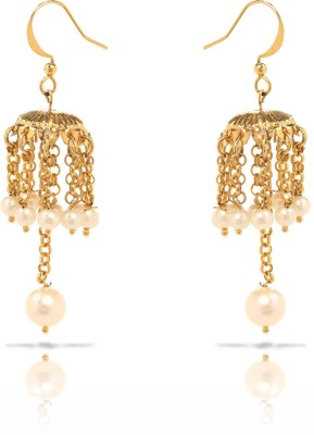 Oviya Bright Pearl Brass, Alloy Jhumki Earring