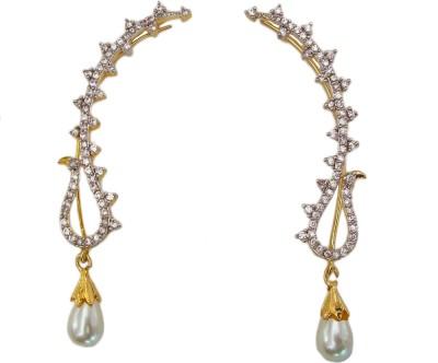 Bandish Gold toned Leaf Design Pearl Cubic Zirconia Alloy Cuff Earring