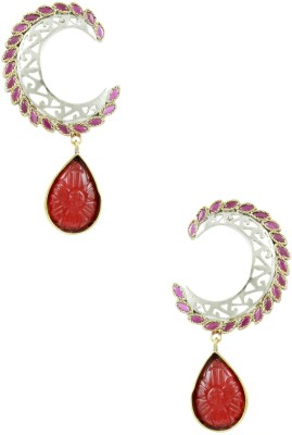 The Art Jewellery Heritage AD Ruby Stones Brass Drop Earring