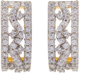 Aaishwarya Shimmery CZ Crystal Brass Stud Earring
