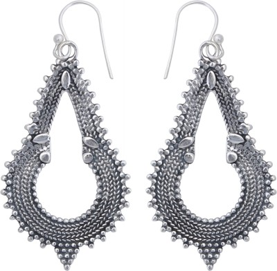 JHL Silver Antique Look Long Silver Dangle Earring