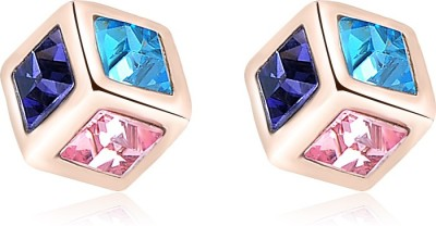 Yiwu Square Crystal Alloy Stud Earring