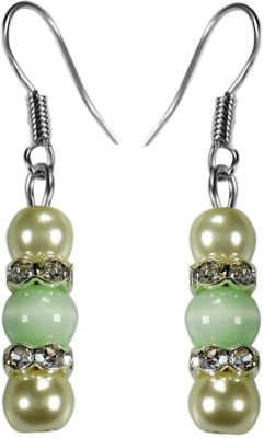 Crystals & Beads Emerald Green Colour Round Cats Eye & White Pearl Bead with Diamond Spacer Acrylic, Glass, Crystal Dangle Earring