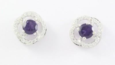 D&D Amethyst and Zircon Silver Stud Earring