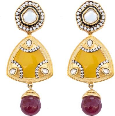 6 Lotus SPARKLING Brass Drop Earring