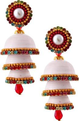 RR ENTERPRISES Hancrafted Single Stud White Triple Jhumka Paper Jhumki Earring