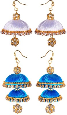 RK City Shopping SILK-THREAD Fabric, Plastic Earring Set