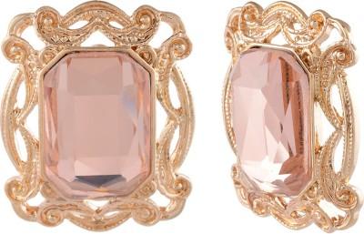 Golden Petals Sparkle O Alloy Stud Earring