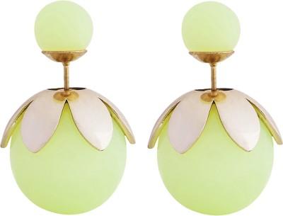 Shining Jewel Celebrity Baubles Pearl Brass Stud Earring
