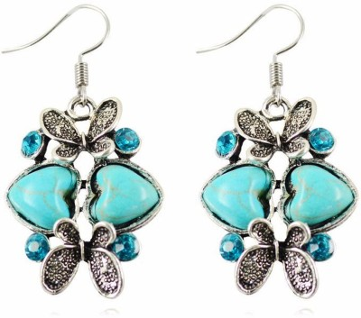 "SENECIOâ""¢ ,S Turquoise Retro Double Heart With Butterfly Design Valentine Gift Long Alloy Dangle Earring"