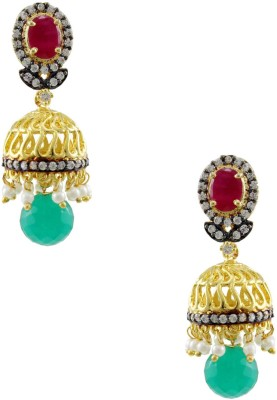 Orniza Victorian Earrings in Ruby & Emerald Color with Antique Polish Brass Drop Earring
