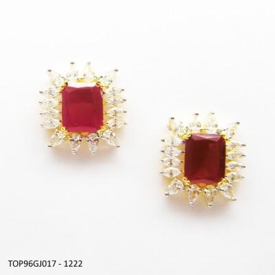 E-Designs TOP96GJ017 - 1222B Cubic Zirconia Alloy Stud Earring