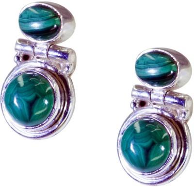 Riyo Gorgeous Malachite Agate Sterling Silver Dangle Earring