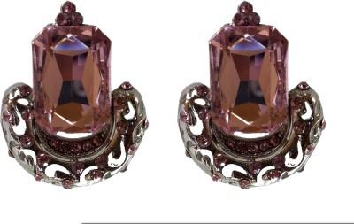 Modish Look Pink Crystal Shine Brass Drop Earring