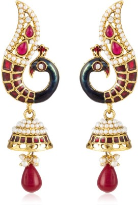 Colors of Sin Red curved peacock with red pearl Alloy Dangle Earring, Drop Earring