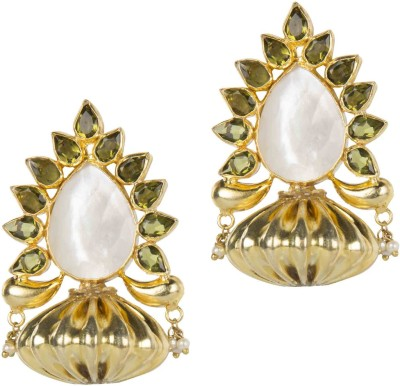 Mehtaphor Urja-3 Crystal Brass Stud Earring