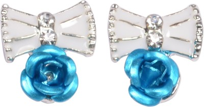 Trinetra Silver Plated Butterfly & Blue Rose Earring German Silver Stud Earring