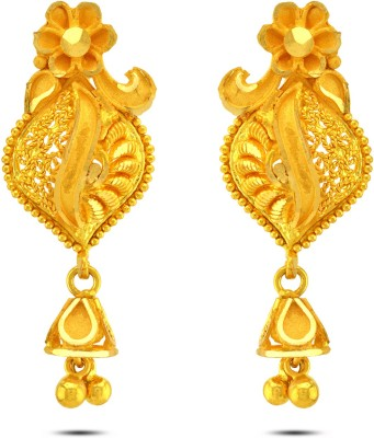 P.N.Gadgil Jewellers Elementary Curves Floral Yellow Gold 22kt Drop Earring at flipkart