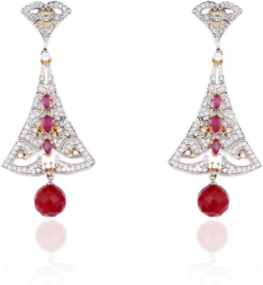 Aapno Rajasthan Cubic Zirconia, Ruby Alloy Dangle Earring