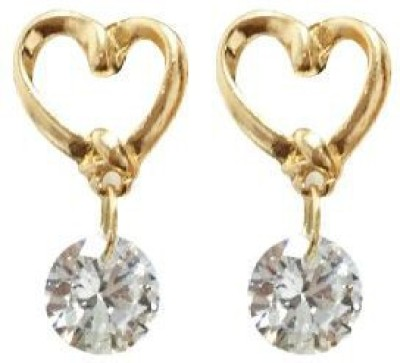 ACW Gold Plated Heart Shape with White Sapphire Earrings for women Alloy Drop Earring