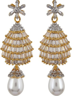 Moda Stella Baguets With Pearl Drop Cubic Zirconia, Zircon Brass Drop Earring