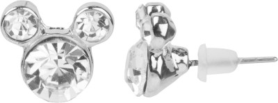 NeedyBee Crystal Studded Mikki Mouse Shaped Metal Stud Earring