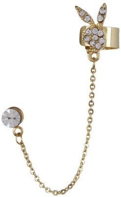 Fayon Designer Modern Golden Simple Stud with Chains Crystal Alloy Cuff Earring