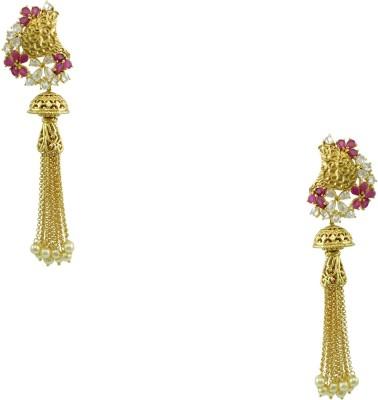 Orniza Victorian Latest Design Earrings in Ruby Color Brass Jhumki Earring