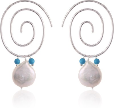 Thingalicious Spiral with Pearl and Turquoise Alloy Hoop Earring