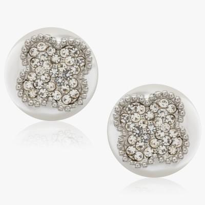 Shamoda Fashionable Pearl With Stone Metal Stud Earring