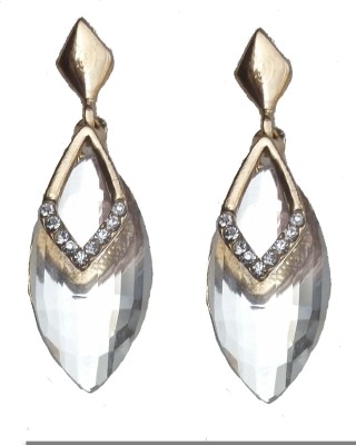 Modish Look White Shining Brass Drop Earring
