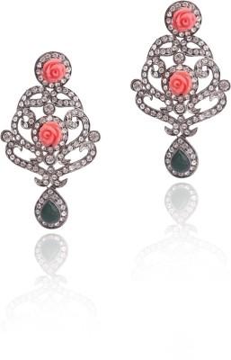 Sparkle Street Rosy Chandelier Metal Drop Earring at flipkart
