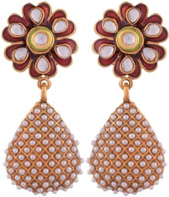Grandiose Gold Plated Pearl and red meenakari flower Copper Jhumki Earring