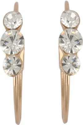 Diovanni Tripple Stone Gold White Crystal, Alloy Hoop Earring