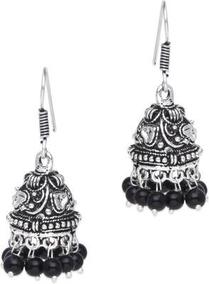 Supriya Black Pearls & White Metal Jhumki Earring