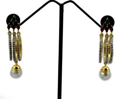 Bharat Sales Amazing Red Green Stones Cubic Zirconia Alloy Earring Set