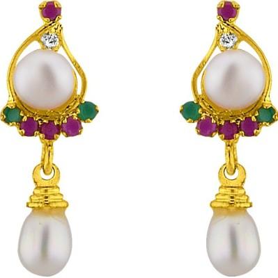 JPearls Multi Colours Pearl Alloy Drop Earring