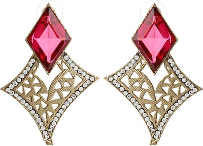 Radius Pink Rhombus Zircon Metal Stud Earring