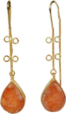 Studio B40 Thread earrings with semipreciuos druzy stones Brass Dangle Earring