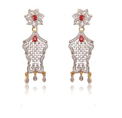 Ratnakar fashionable cz diamond long earing with ruby stone Alloy Stud Earring