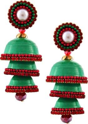 RR ENTERPRISES Hancrafted Single Stud Green Triple Jhumka Paper Jhumki Earring