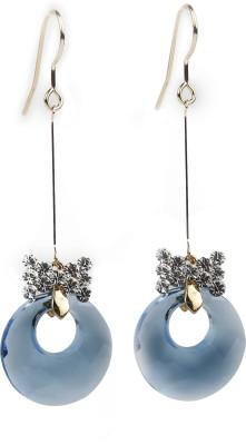 Jewelfin Falling Blue Alloy Chandbali Earring
