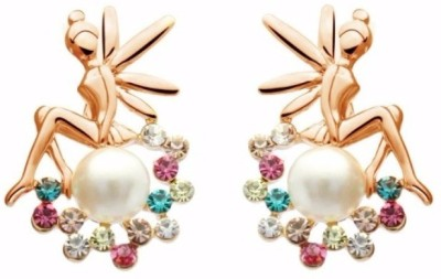 Roma Brothers ANGLE Swarovski Crystal, Pearl Alloy Stud Earring