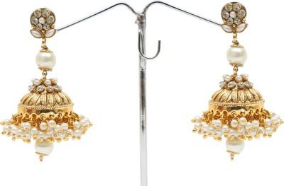 Kashvi Spring Sparkle Pearl Brass Jhumki Earring