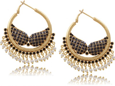 Hyderabad Jewels Beautiful Antique Hangings Pearl Copper Hoop Earring