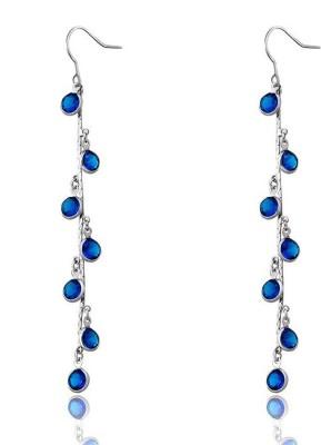 Wearyourfashion Multi Layered Droplets Swarovski Crystal Alloy Tassel Earring