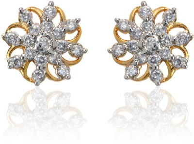 Zaveri Pearls Cz Designer Brass Stud Earring