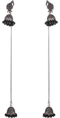 SAADGI Designer Silver Black Oxidized Kashmiri Style Beads Alloy Jhumki Earring, Drop Earring